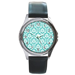 White On Turquoise Damask Round Leather Watch (silver Rim) by Zandiepants