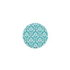 White On Turquoise Damask 1  Mini Button by Zandiepants