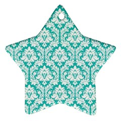 White On Turquoise Damask Star Ornament by Zandiepants