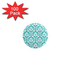 White On Turquoise Damask 1  Mini Button Magnet (100 Pack) by Zandiepants