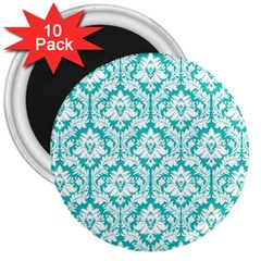 White On Turquoise Damask 3  Button Magnet (10 Pack) by Zandiepants