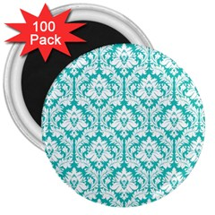 White On Turquoise Damask 3  Button Magnet (100 Pack) by Zandiepants