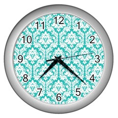 White On Turquoise Damask Wall Clock (silver) by Zandiepants