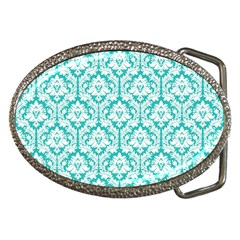 White On Turquoise Damask Belt Buckle (oval) by Zandiepants