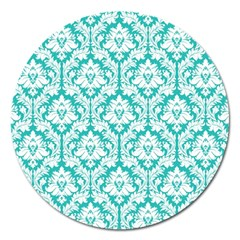 White On Turquoise Damask Magnet 5  (round) by Zandiepants