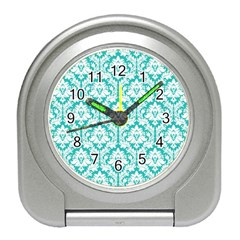 White On Turquoise Damask Desk Alarm Clock by Zandiepants
