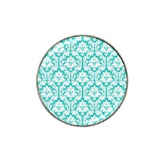 White On Turquoise Damask Golf Ball Marker (for Hat Clip) by Zandiepants