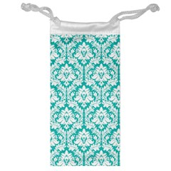 White On Turquoise Damask Jewelry Bag by Zandiepants