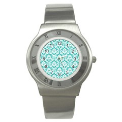 White On Turquoise Damask Stainless Steel Watch (slim) by Zandiepants