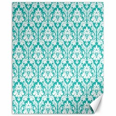 White On Turquoise Damask Canvas 16  X 20  (unframed) by Zandiepants