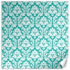 White On Turquoise Damask Canvas 20  X 20  (unframed) by Zandiepants