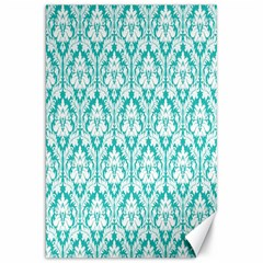 White On Turquoise Damask Canvas 20  X 30  (unframed) by Zandiepants