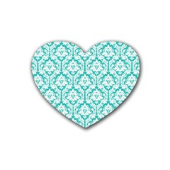 White On Turquoise Damask Drink Coasters 4 Pack (heart)  by Zandiepants