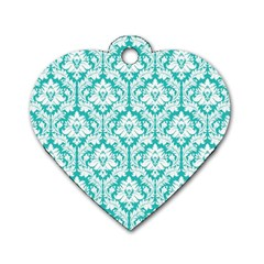 White On Turquoise Damask Dog Tag Heart (two Sided) by Zandiepants
