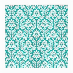 White On Turquoise Damask Glasses Cloth (medium, Two Sided) by Zandiepants