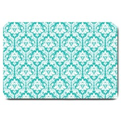 White On Turquoise Damask Large Door Mat by Zandiepants