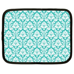 White On Turquoise Damask Netbook Sleeve (large) by Zandiepants
