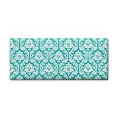 Turquoise Damask Pattern Hand Towel by Zandiepants