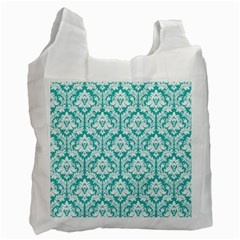 White On Turquoise Damask White Reusable Bag (one Side)