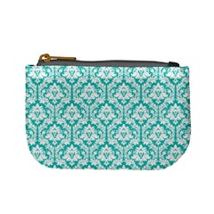 Turquoise Damask Pattern Mini Coin Purse by Zandiepants