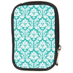 White On Turquoise Damask Compact Camera Leather Case by Zandiepants