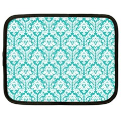 White On Turquoise Damask Netbook Sleeve (xxl) by Zandiepants