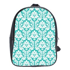 White On Turquoise Damask School Bag (large) by Zandiepants