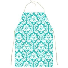 Turquoise Damask Pattern Full Print Apron by Zandiepants