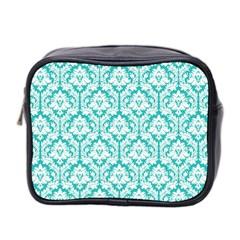 Turquoise Damask Pattern Mini Toiletries Bag (two Sides) by Zandiepants