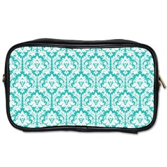 White On Turquoise Damask Travel Toiletry Bag (one Side) by Zandiepants