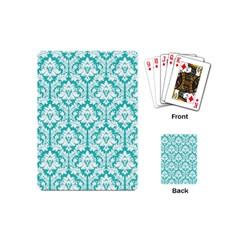 White On Turquoise Damask Playing Cards (Mini)
