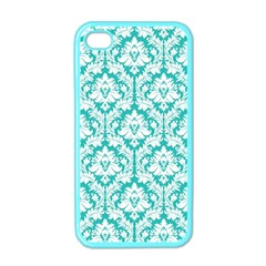 White On Turquoise Damask Apple Iphone 4 Case (color) by Zandiepants