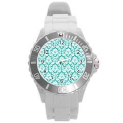 White On Turquoise Damask Plastic Sport Watch (large) by Zandiepants