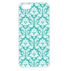 White On Turquoise Damask Apple Iphone 5 Seamless Case (white) by Zandiepants