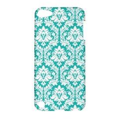 White On Turquoise Damask Apple iPod Touch 5 Hardshell Case by Zandiepants