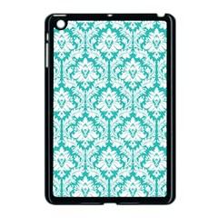 White On Turquoise Damask Apple iPad Mini Case (Black) by Zandiepants