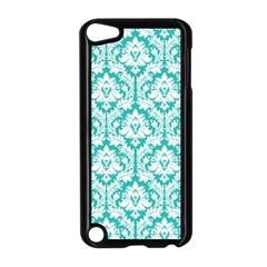 White On Turquoise Damask Apple Ipod Touch 5 Case (black) by Zandiepants