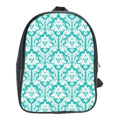 White On Turquoise Damask School Bag (xl) by Zandiepants