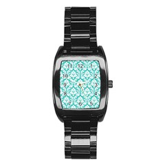 White On Turquoise Damask Stainless Steel Barrel Watch by Zandiepants