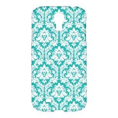 White On Turquoise Damask Samsung Galaxy S4 I9500/i9505 Hardshell Case by Zandiepants