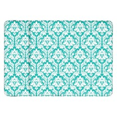 White On Turquoise Damask Samsung Galaxy Tab 8 9  P7300 Flip Case by Zandiepants