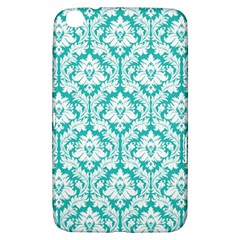 White On Turquoise Damask Samsung Galaxy Tab 3 (8 ) T3100 Hardshell Case  by Zandiepants