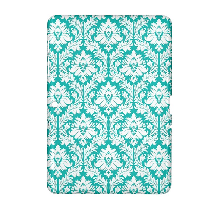 White On Turquoise Damask Samsung Galaxy Tab 2 (10.1 ) P5100 Hardshell Case