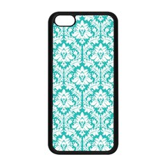 White On Turquoise Damask Apple Iphone 5c Seamless Case (black) by Zandiepants