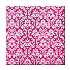 White On Hot Pink Damask Ceramic Tile by Zandiepants