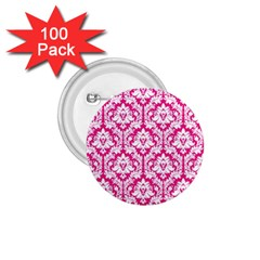 White On Hot Pink Damask 1 75  Button (100 Pack) by Zandiepants