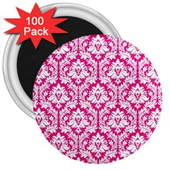 White On Hot Pink Damask 3  Button Magnet (100 Pack) by Zandiepants