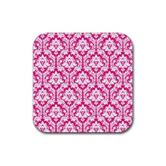 White On Hot Pink Damask Drink Coasters 4 Pack (square) by Zandiepants