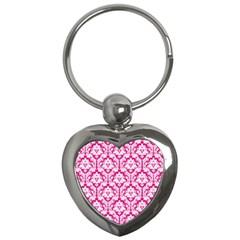 White On Hot Pink Damask Key Chain (heart) by Zandiepants