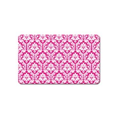 White On Hot Pink Damask Magnet (name Card) by Zandiepants